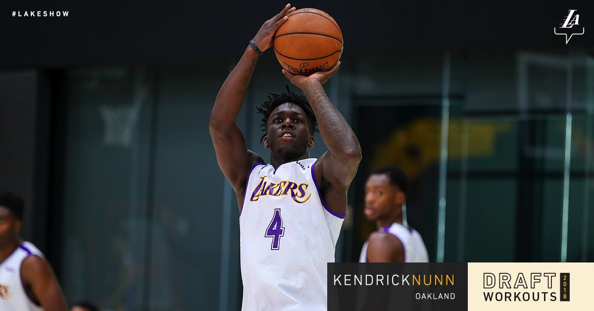 Working out for the #LakeShow today, @OaklandMBB's Kendrick Nunn https://t.co/ZPIkfhaRry