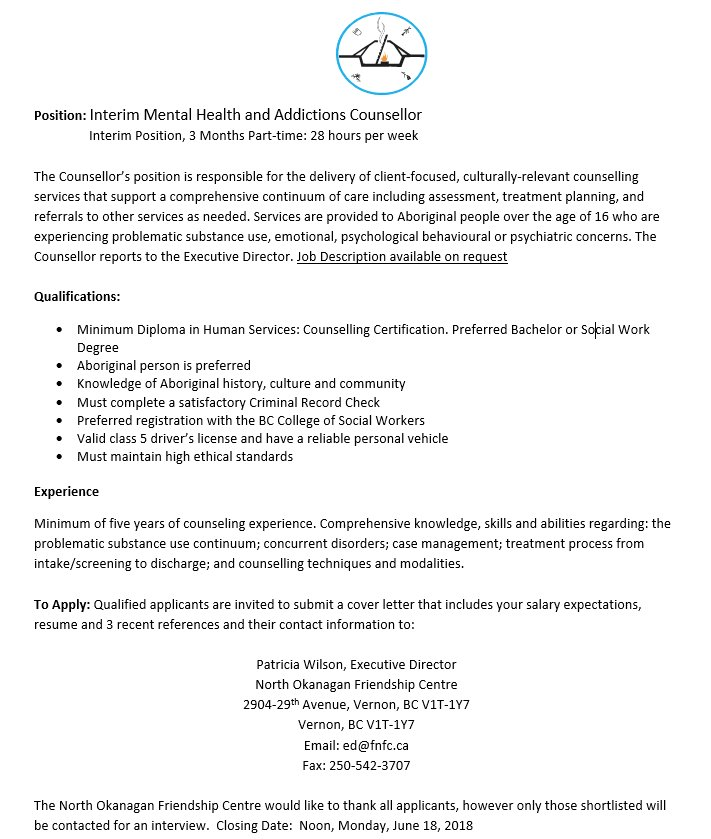 Aboriginal Programs On Twitter Job Opportunity Interim Mental