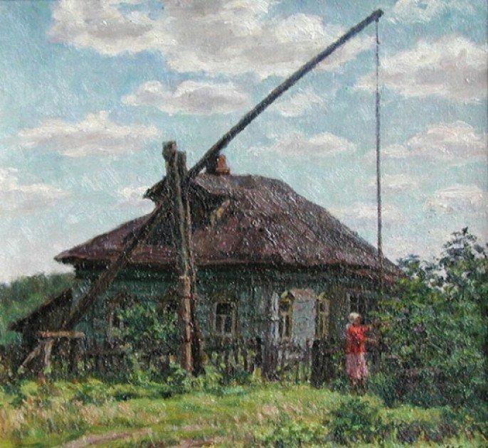 чморила картинка в деревне у колодца высокий журавль стрижек пуделей