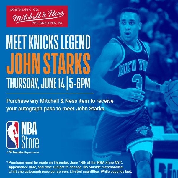 Come out on Thurs 6/14 to the @nbastore at 545 5th Ave. NYC for some cool @mitchellness Knicks gear. Ill be there!