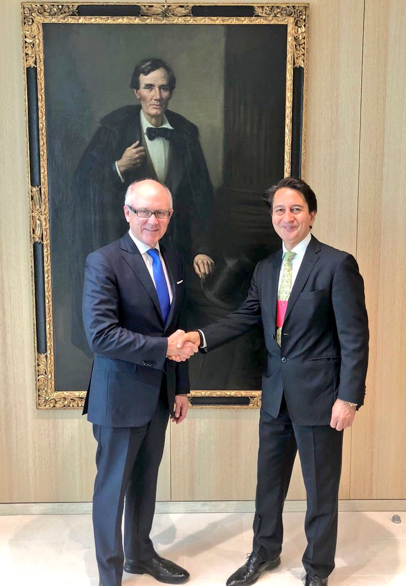 Delighted to catch up on the currant USA, UK and Afghanistan related bilateral issues with the distinguished colleague Ambassador Woody Johnson @USAmbUK.