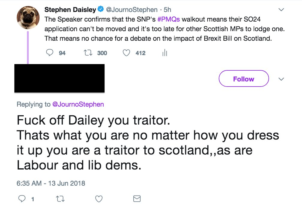 Screengrab of a tweet that reads: 'Fuck off Daisley you traitor. That's what you are no matter how you dress it up you are a traitor to Scotland, as are Labour and Lib Dems.'