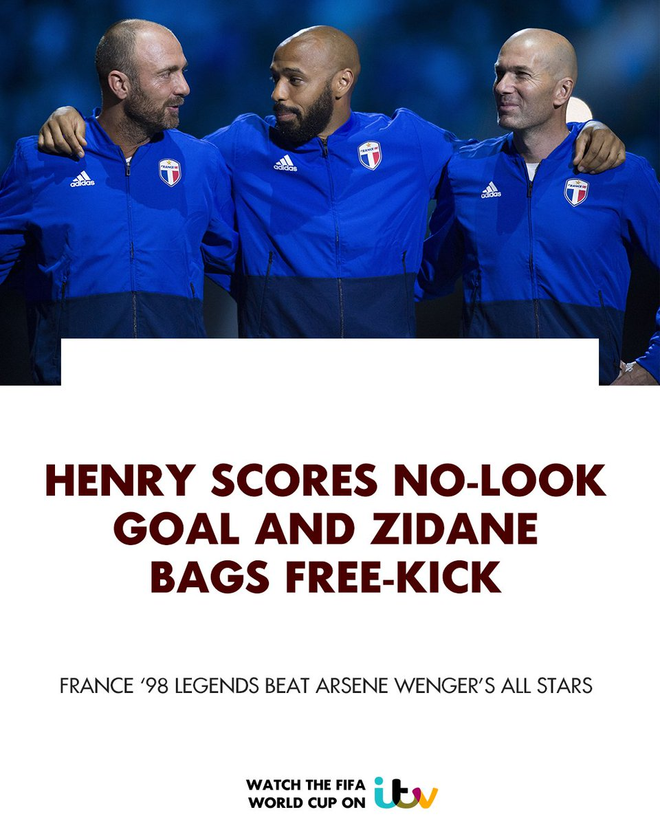 Footballing legends were on show in Paris last night as Thierry Henry and Zinedine Zidane both scored in the #France98vsFIFA98 match which finished 3-2 to the 1998 #WorldCup winners<br>http://pic.twitter.com/kYsEKq7kvg