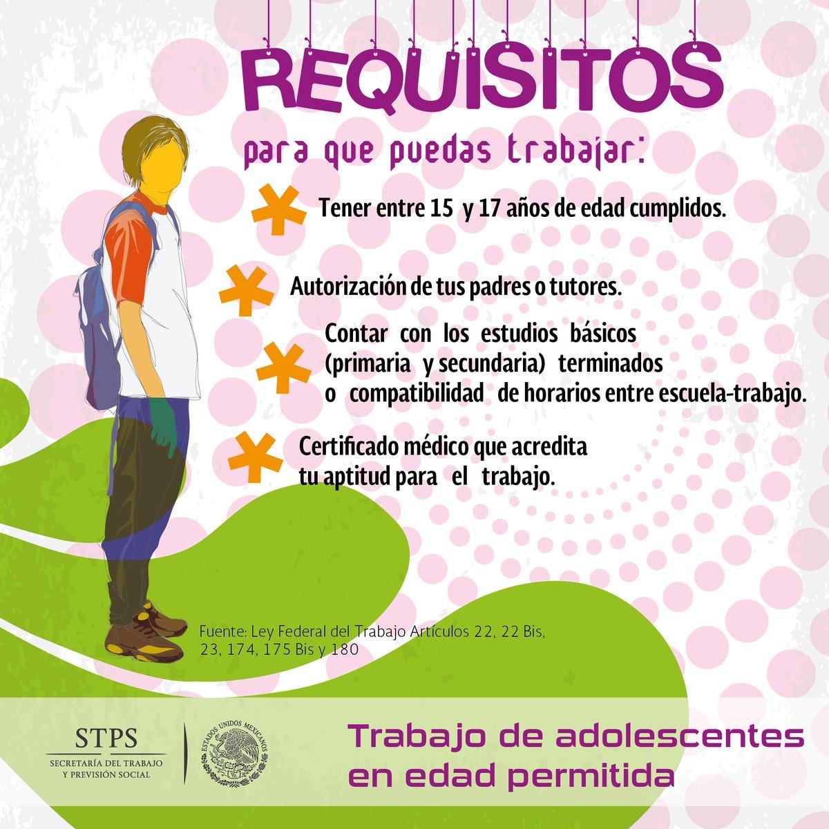 Stps Mexico On Twitter Los Requisitos Del Trabajo De Adolescentes