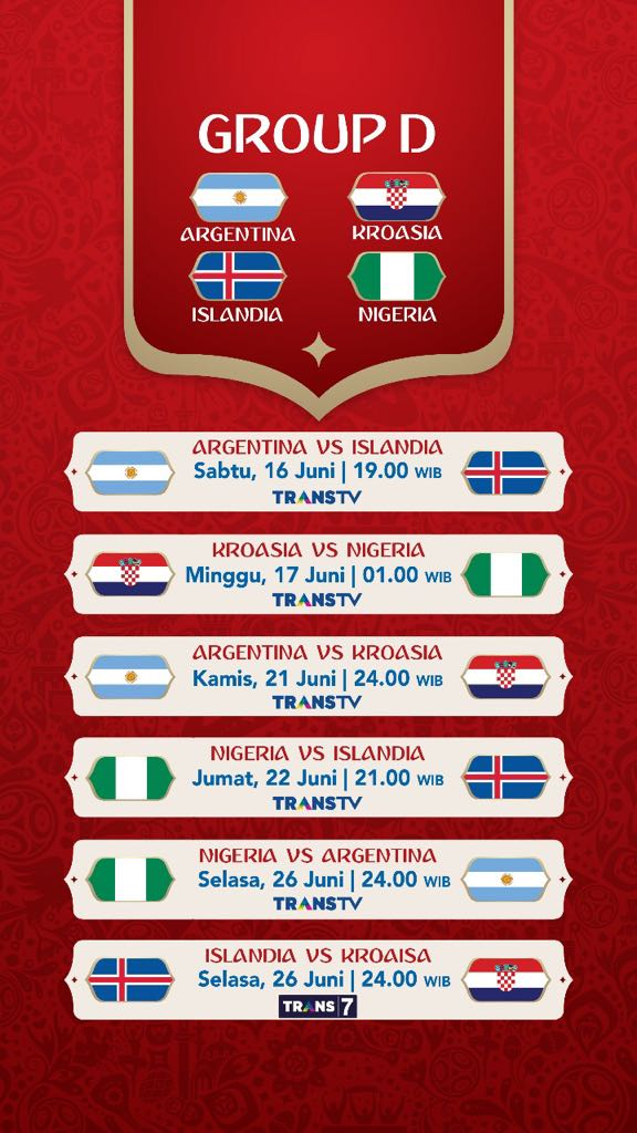 Jadwal Pertandingan Penyisihan Grup D Piala Dunia 2018