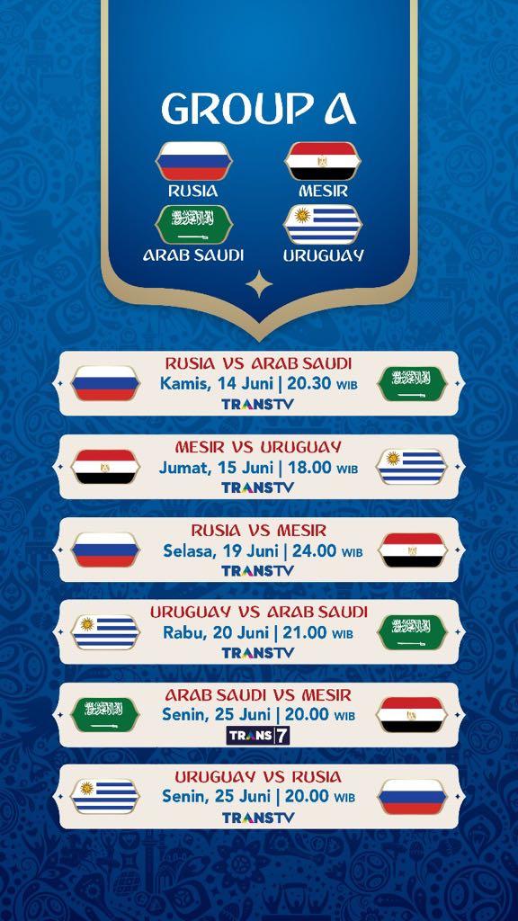 Jadwal Pertandingan Penyisihan Grup A Piala Dunia 2018