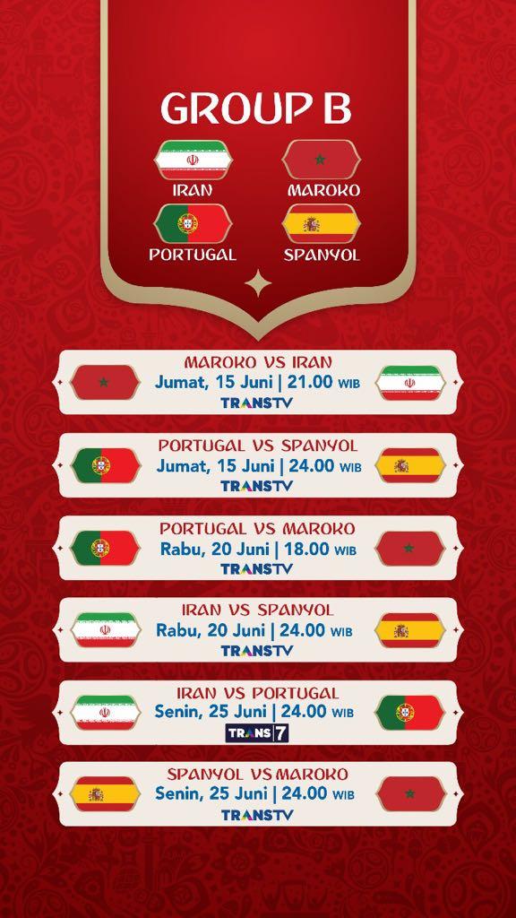 Jadwal Pertandingan Penyisihan Grup B Piala Dunia 2018