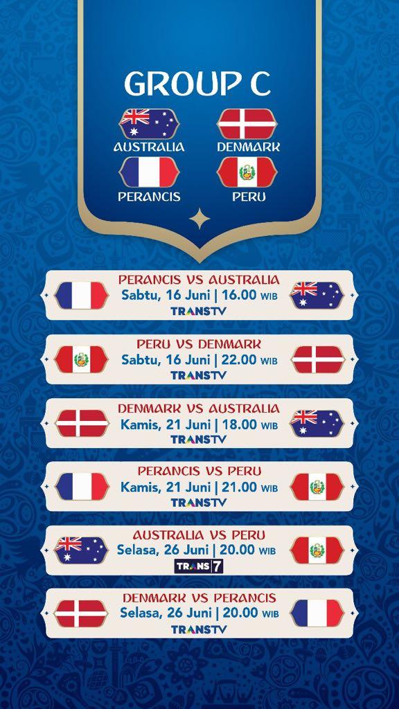 Jadwal Pertandingan Penyisihan Grup C Piala Dunia 2018
