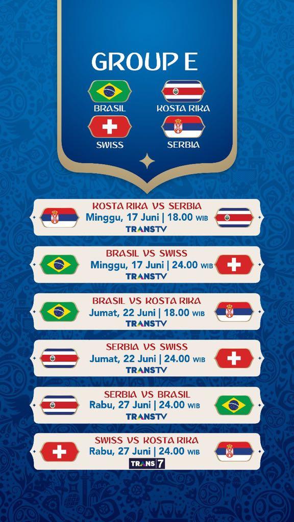 Jadwal Pertandingan Penyisihan Grup E Piala Dunia 2018