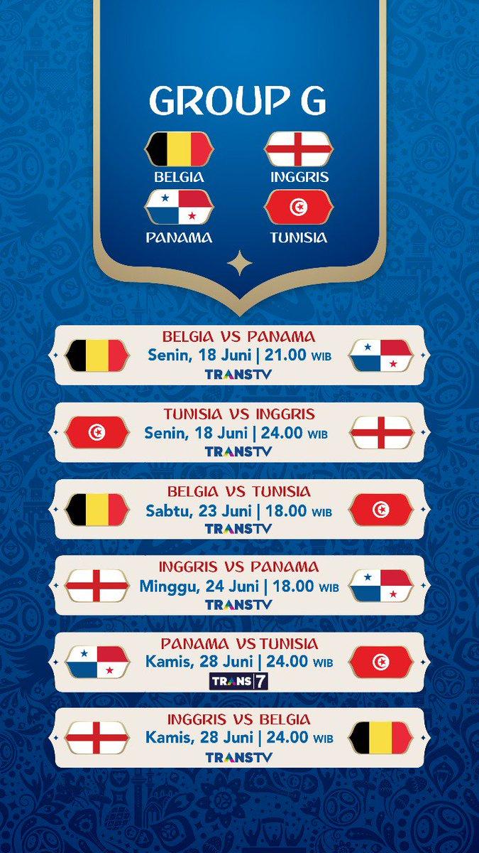 Jadwal Pertandingan Penyisihan Grup G Piala Dunia 2018