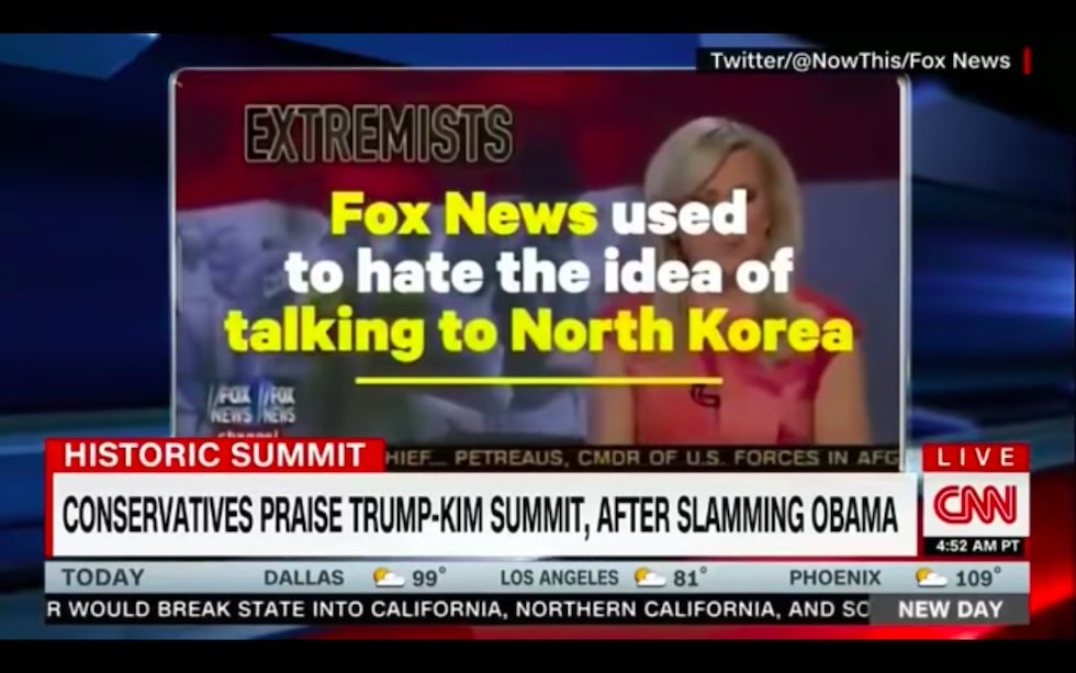 CNN trolls Fox News with old footage of hosts ripping Obama for suggesting summit with Kim https://t.co/86e6nax14A https://t.co/Hv4wXmi2pg
