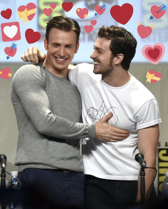 Happy birthday to chris evans and aaron taylor johnson I love them with my whole heart and they deserve the world