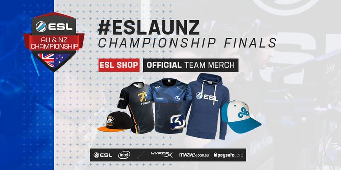 Heading to the #ESLAUNZ Championship finals at @SupanovaExpo this weekend? Be sure to stop by the ESL Shop for official team & ESL merch! Photo