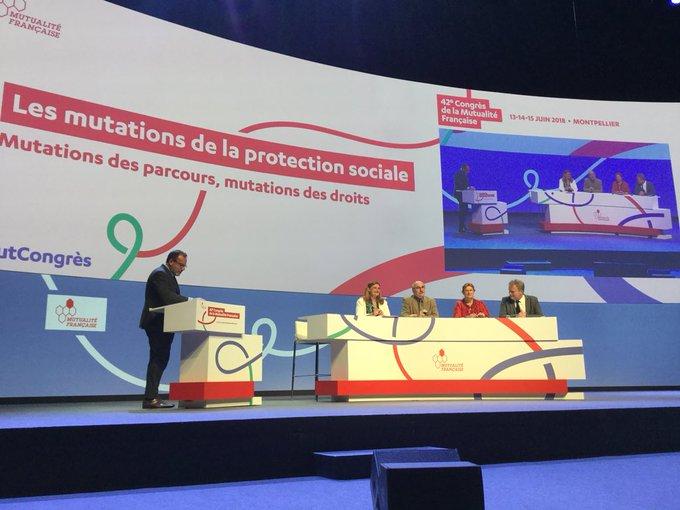 Table ronde au #MutCongres mutations des parcours, mutations des droits avec Stéphanie Soares, Mutualité française, Luc Berille (UNSA), Catherine Perret (CGT) et François Hommeril (CFE-CGC) Photo