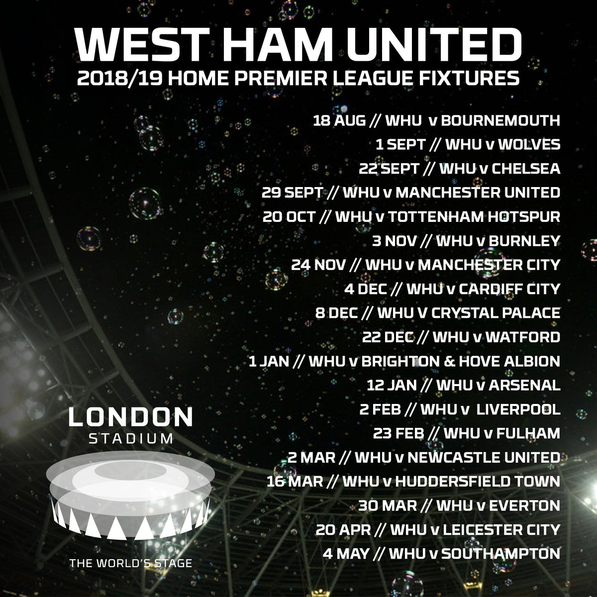 "london stadium on twitter: ""fixture release // west ham will face"