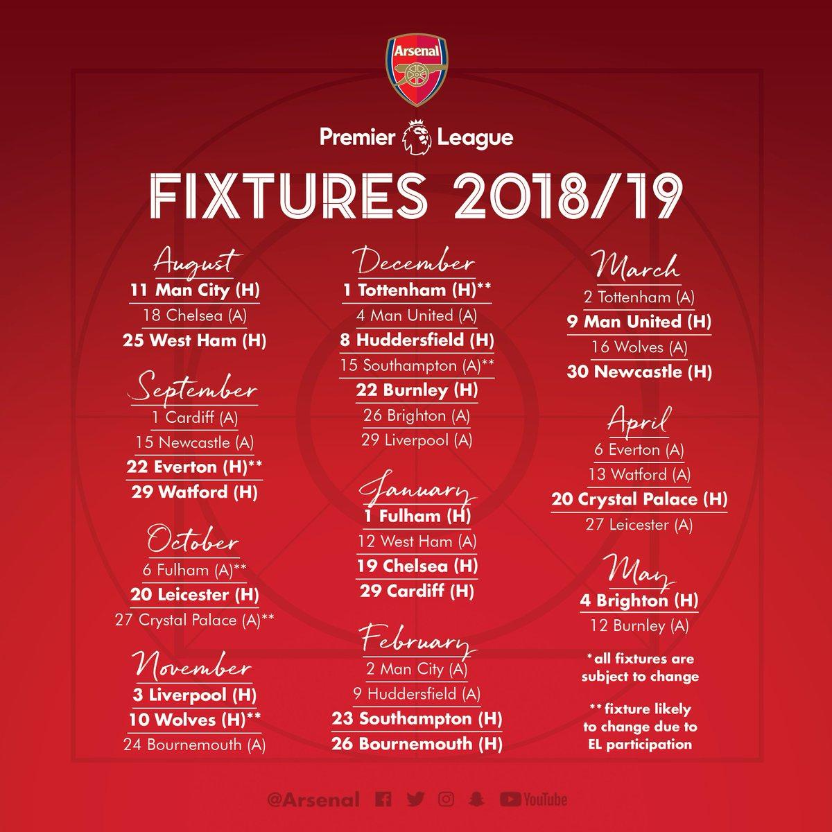 Arsenal calendar 2019