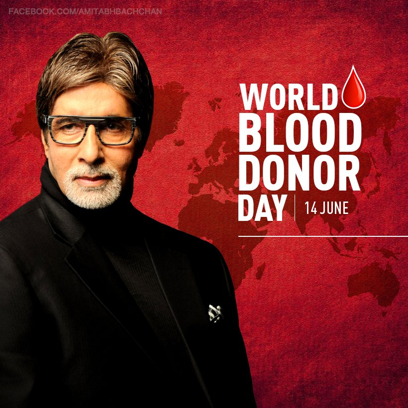 T 2837 - World Blood Donor Day .. save lives .. blood donated by hundreds during my accident in 1982 on sets of Coolie saved my life .. ever grateful and humbled .. save another life .. !