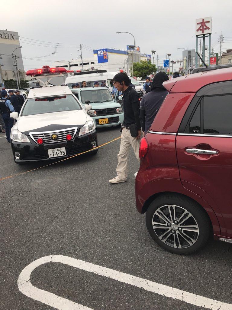 岡山市北区下中野でカーチェイスがあった現場の画像
