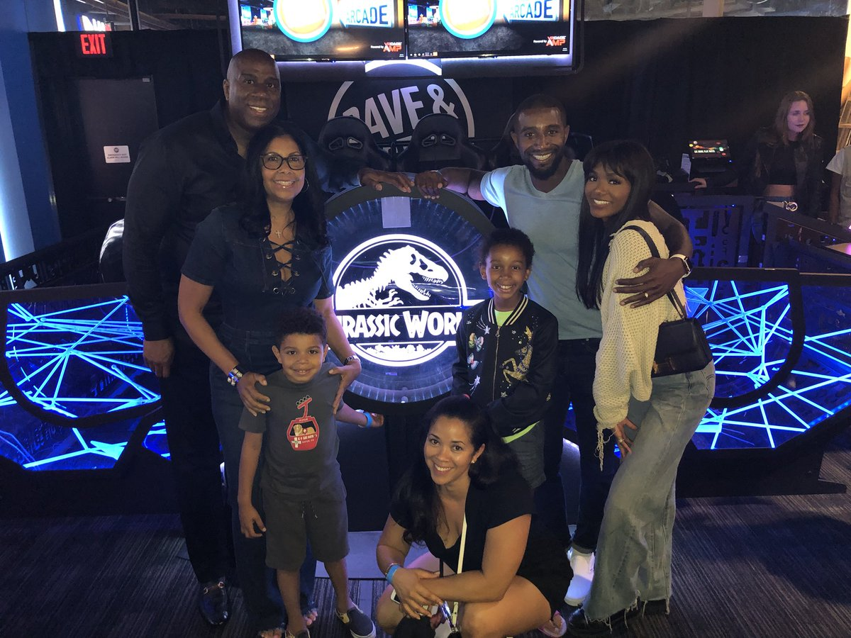 Cookie and I are so proud of our son Andre and the @VRcompany. Tonight they unveiled the new Jurassic World Virtual Reality Expedition at Dave & Buster's.