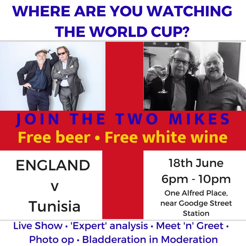The two mikes on twitter did someone say free beer at englands meet and greet where else is showing england v tunisia and offering free beer m4hsunfo