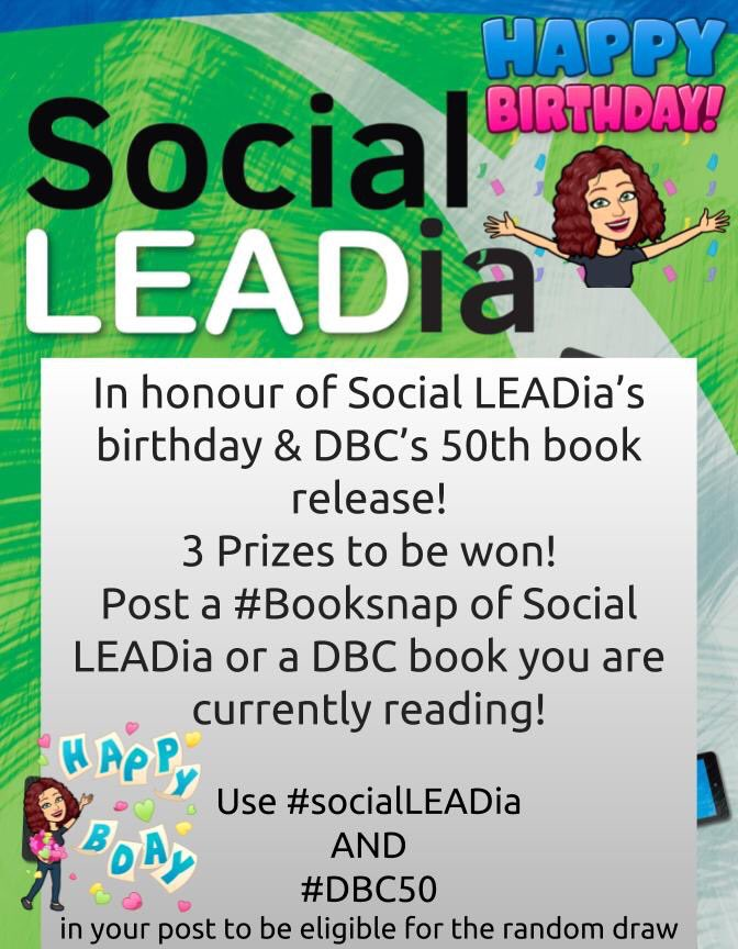 Today is the day! Giving out 3 prizes at 8 pm ET tonight as a thank you!! #socialLEADia #DBC50