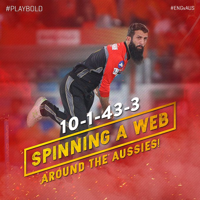 An incredible Man Of The Match performance by @MoeenAli who bamboozled the Aussies with his wily off-spin and helped England register a 3-wicket win. #EngvAus #PlayBold Photo