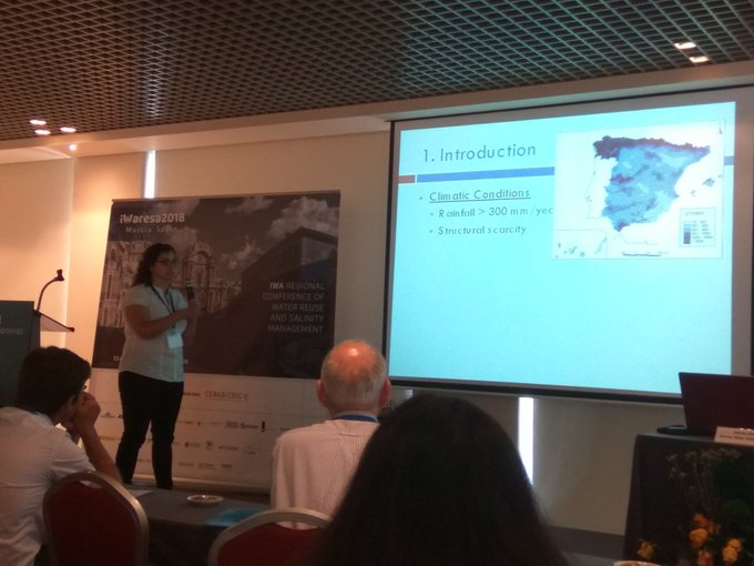 Starting the presentation of @Acuatic85 at #iwaresa2018 about diversification of water resources in the context of climate change in south-east of Spain. Photo