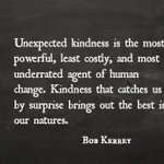 """Unexpected #kindness is the most powerful, least costly, and most underrated agent of human change. Kindness that catches os by surprise brings out the best in our natures.""  #leadership #inspiration #motivation"