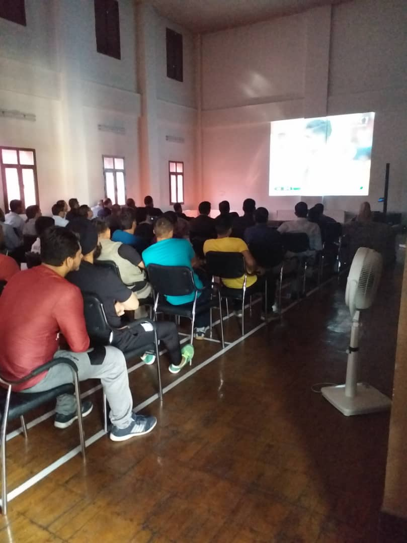 A screening of the 1st session of the first test match of #Afghanistan was held at the Embassy. The inaugural match was attended by Chief Executive Dr.Abdullah, Minister for State for Youth and Sports Affairs Col. Rajyawardhan Singh Rathore and @vkumar1969 at Bengaluru.