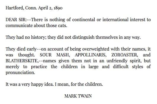 Mark Twain, cat namer extraordinaire