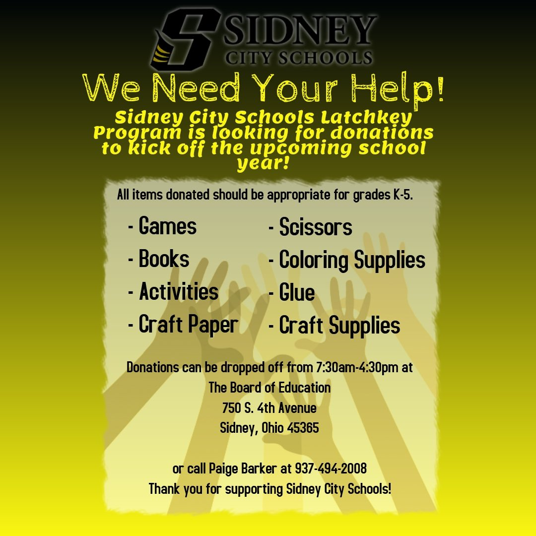 Sidney City Schools On Twitter Latchkey Is Looking For Donations