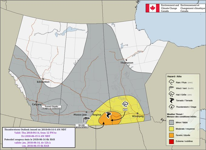 Updated EC³ convective outlook for today. Not much change today except a slight southward shift of the severe area. If you live in southeast Saskatchewan and southwest Manitoba stay weather aware today! #skstorm #mbstorm Photo