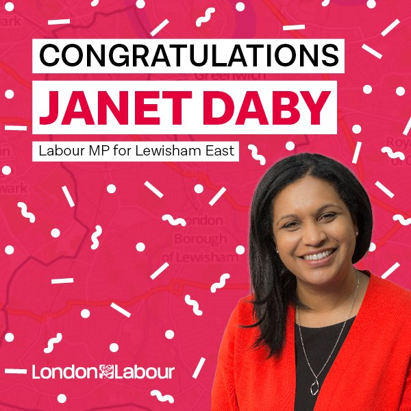 Congratulations Janet Daby (@JanetDaby), Labour's new MP for Lewisham East! #LewishamEastByElection https://t.co/EG7d3ryzTe