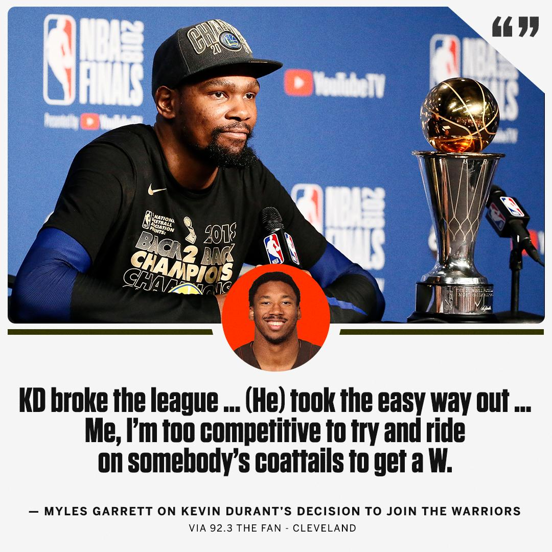 Myles Garrett ... not a fan of Kevin Durant on the Warriors. https://t.co/gUPL7g8AOG