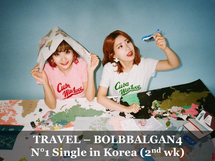 #Bolbbalgan4 reigns for a 2nd week atop the Korean weekly Gaon chart with their smash hit Single #Travel!👏1⃣🎵🇰🇷🔥🌟👑 facebook.com/worldmusicawar…