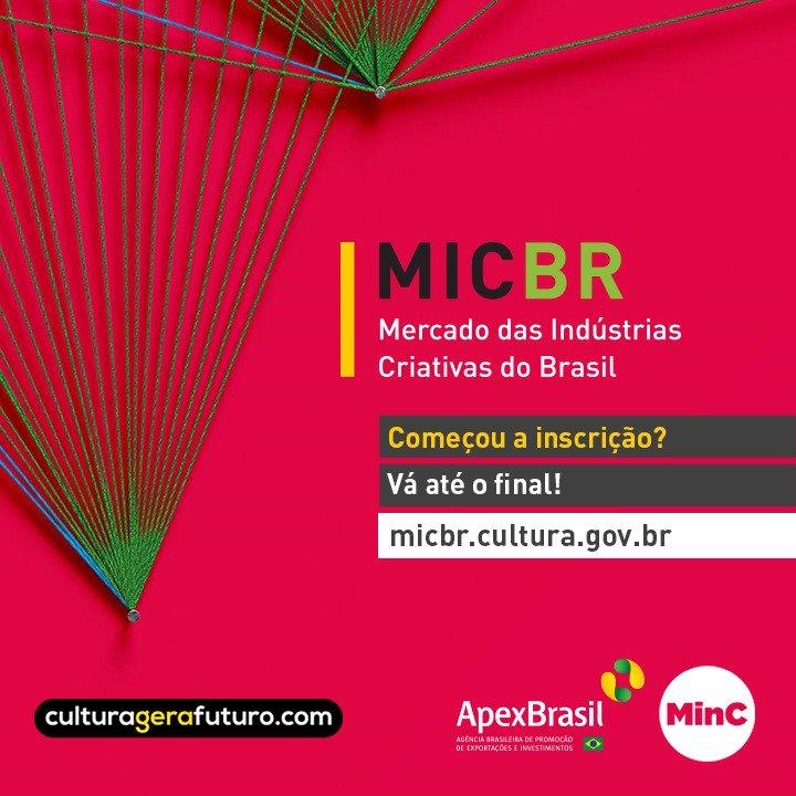 Fizemos um passo a passo sobre como se inscrever no edital #MicBR, com informações sobre o evento, o apoio financeiro que o #MinC e a @ApexBrasil darão a 180 empreendedores brasileiros, as etapas de seleção e muito mais. Acesse: https://t.co/EPGOTcsqJA  #culturagerafuturo