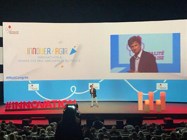 Patrick Sagon, Vice-Président de la @mutualite_fr ouvre la séquence Innover, agir : Innovathon et remise des prix innovation mutuelle #MutCongrès Photo