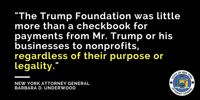 We are suing the Donald J. Trump Foundation and its directors @realDonaldTrump, Donald J. Trump Jr., Ivanka Trump, and Eric Trump for extensive and persistent violations of state and federal law. Photo