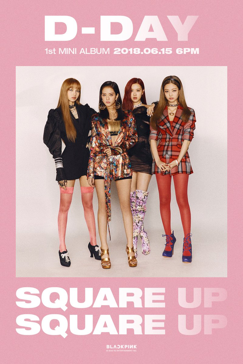 #BLACKPINK 1st MINI ALBUM 'SQUARE UP' D-DAY POSTER  '#SQUAREUP' release ▶️ 2018.06.15 6PM(KST)  #블랙핑크 #DDAY #20180615_6PM #RELEASE #YG