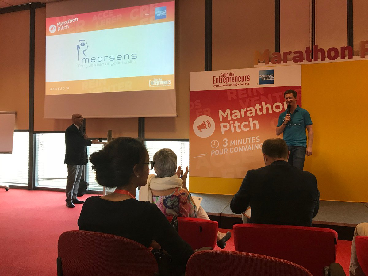 @meersens ' CEO - @ReyHuet participated as one of the finalist to marthaton pitch at #salondesentrepreneurs and his pitch was really appreciated by the jury. It was a pleasure to participate in this experience, thank you @SDEntrepreneurs ! #SDE2018 #sdelyon #digitalhealth<br>http://pic.twitter.com/kJgbH56dNC