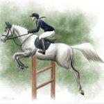 Image for the Tweet beginning: 馬術とフィギュアスケート。 スポーツであり芸術でもあるのっていいなぁと思って、描いてみました。 アップするの恥ずかしいですが💦 すごく難しいことをやっていて、美しくて、かっこいい。 #馬の絵 #ハイドロブレーディング