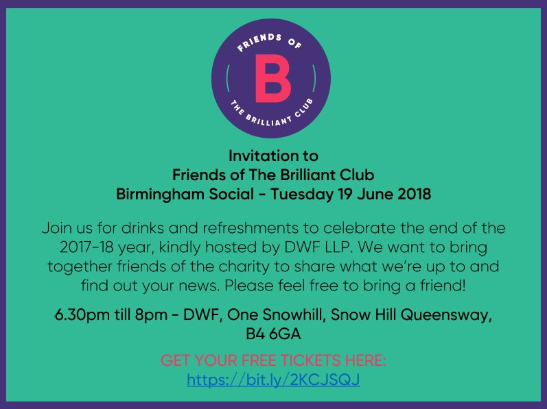 test Twitter Media - Join our team in Birmingham for Friends of The Brilliant Club event on Tues 19 June from 6.30pm to discuss all things widening participation and fair access. We're excited to bring together researchers, teachers and those working in education for a social evening! #education https://t.co/2hlj84LHCZ