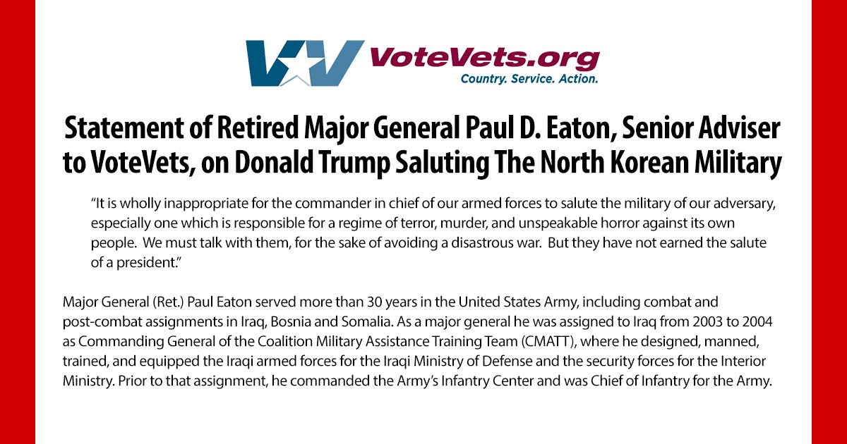 VoteVets senior adviser @PaulDEaton52, who served more than 30 years in the United States Army, including combat and post-combat assignments in Iraq, Bosnia and Somalia, says Trumps salute of a North Korean military officer was wholly inappropriate for the commander in chief.