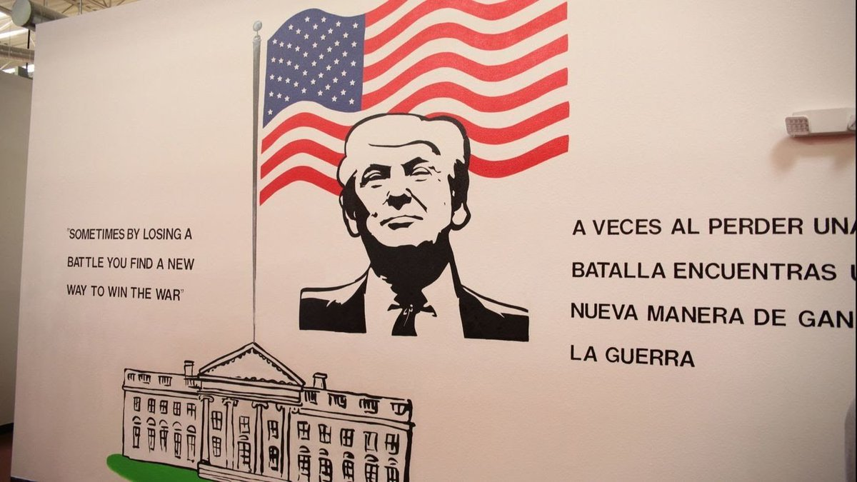 Nothing ominous or worrisome about a Trump mural in the migrant detention camp.  Nothing at all.