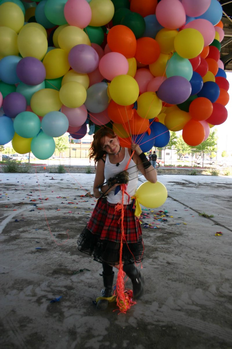 In case you need to calculate how many balloons it would take to get you airborne, we came up with one balloon per 10g.  So ... a lot.  I loved the claws and fashioned a pair of my own in a later episode. I have a Wolverine thing. Yes, I still have the claws, wink.  -- @KariByron