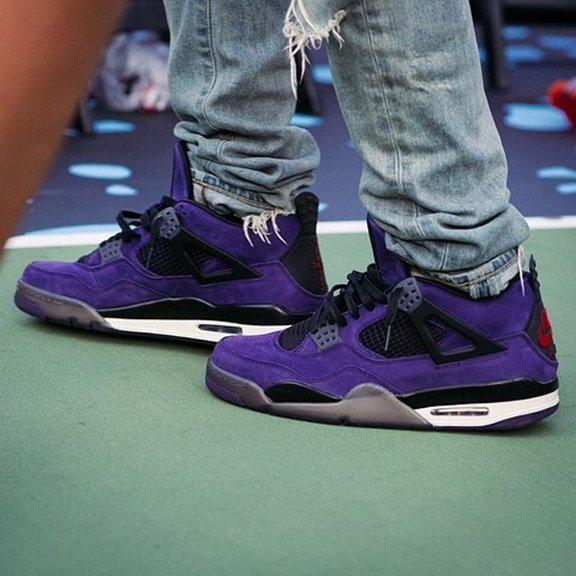 745de6d3818 ogchaseb spotted wearing the unreleased Purple @trvisXX x Air Jordan 4 Retro,  featuring Nike Air branding on the left heel patch, the Cactus Jack logo on  ...