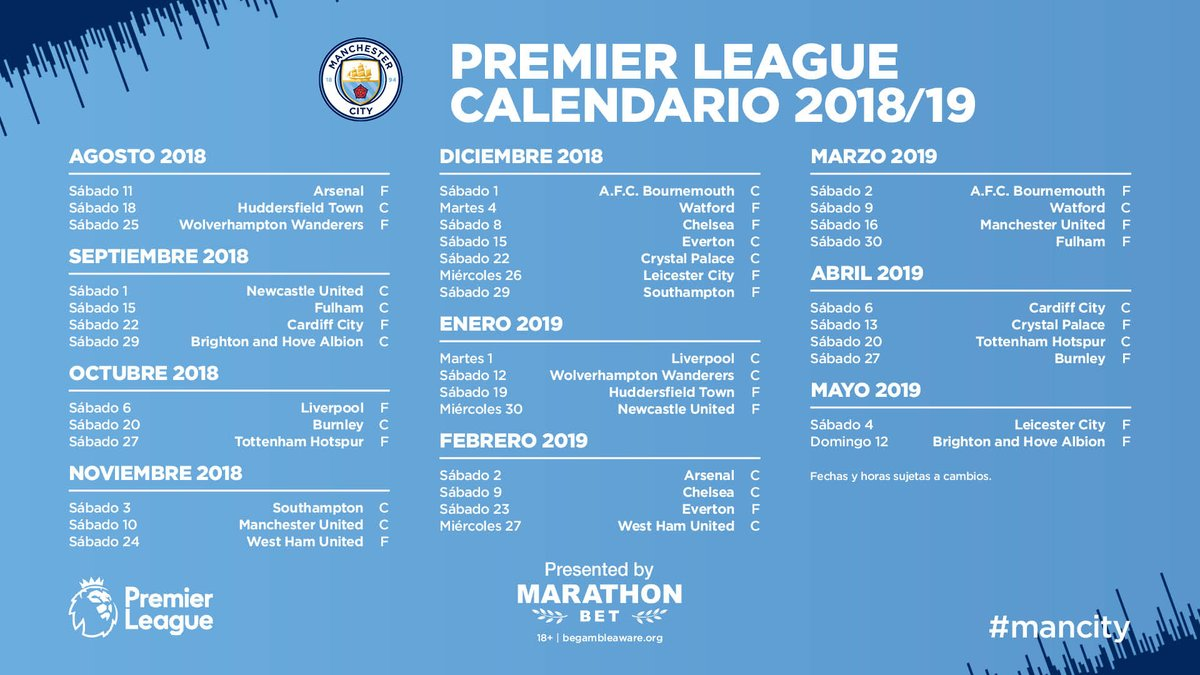Calendario Manchester United.Manchester City On Twitter El Calendario Del City Para La