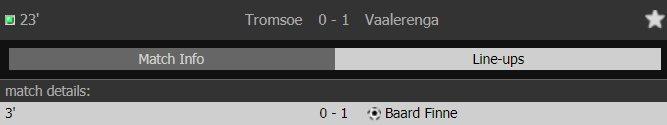 Informo a quem interessar possa que neste momento, pela Copa da Noruega, o Vaalerenga vai batendo o Tromsoe por 1 a 0 com gol de Finne. De nada.