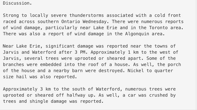 Environment Canada wind damage summary. Survey crews are out today assessing if any tornadoes touched down. #onstorm Photo