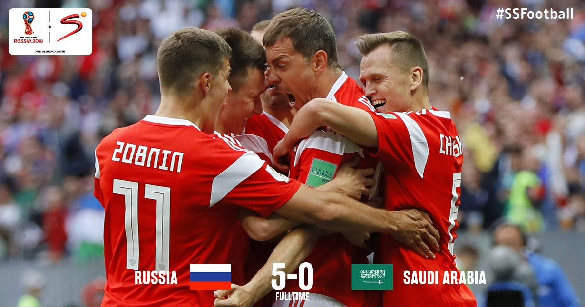 #RUSKSA - RESULT: WOW! 👏👏 Host nation Russia lay down a marker in Group A to open their campaign with a convincing and throughly deserved victory over Saudi Arabia. #WorldCup #SSFootball